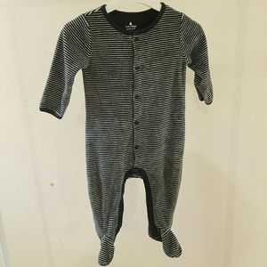 Baby Gap 6-12M Footies Blue Gray Striped